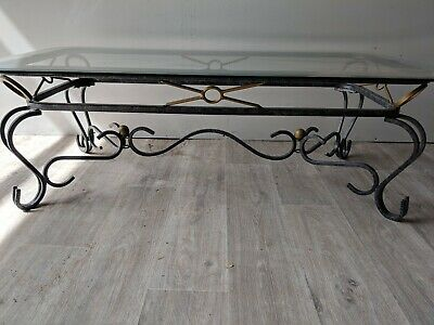 Rectangle Glass Wrought Iron Coffee Table French Style Solid Indoor Outdoor