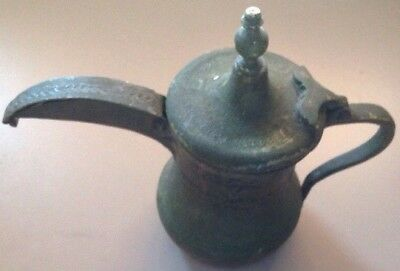 Antique Islamic Arabic Dallah Copper/Brass Tea Pot, Signed