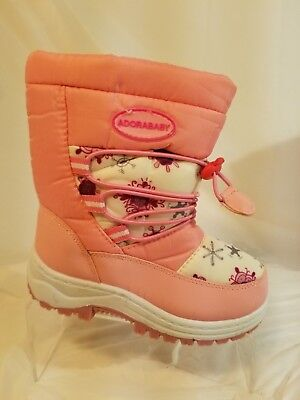 Little Girls Adorababy Pink & Snowflake Print Winter Boots Size 10