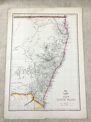 Antique Map Australia New South Wales Old Hand Coloured 19th Century