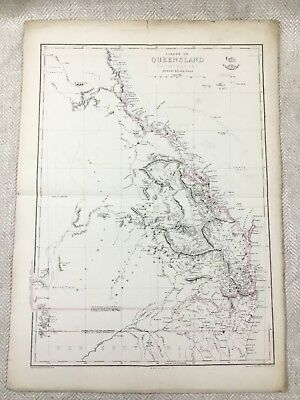 Antique Map Australia Colony of Queensland Old Hand Coloured 19th Century