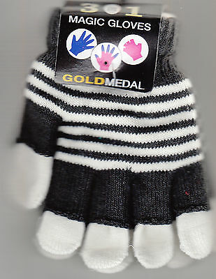 Gloves, Ladies 3 in 1 Magic Gloves, Black and White, By Gold Medal, New With Tag