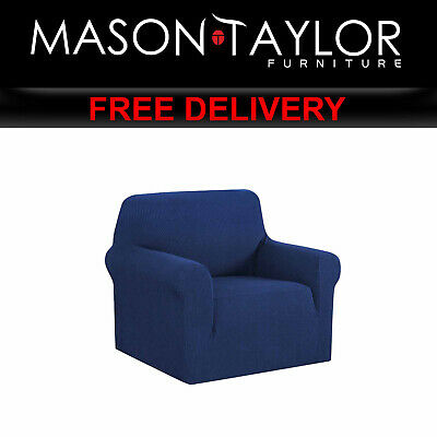 MT High Stretch Sofa Cover Couch Protector 1Seater Navy SCOVER-MERBAU-1-NY AU