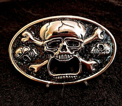 Screaming Skull Bottle Opener Chrome Belt Buckle Gothic Biker Rock Fit Snap Belt