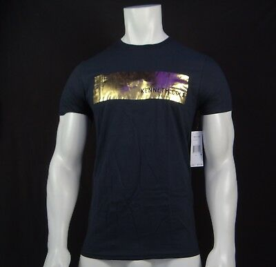 New Rnbr-4 Kenneth Cole Black Collection Gold Logo Mens Short Sleeve T-Shirt