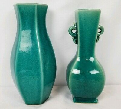 Pair Of Stunning Antique Japanese Awaji Pottery Vases