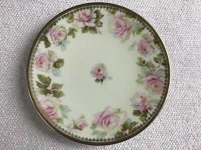 """Vintage OHME Silesia Rose Plate 8 1/2"""" Salad or Luncheon Plate Hermann Germany"""