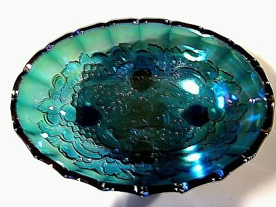 Vintage Iridescent Blue/Green Indiana Carnival Glass Footed Oval Bowl