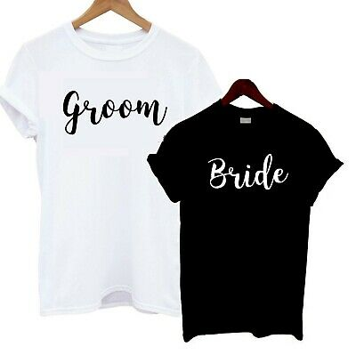 6683258b Bride Groom T Shirt Present Gift Just Married Bridal Shower Wedding  Honeymoon