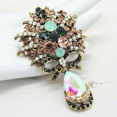 Beautiful Ornate Vintage Style CRYSTAL Rhinestone Bow Drop BROOCH Pin Jewellery