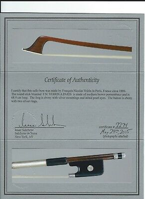 Very fine FRENCH cello bow by F.N.VOIRIN/Salchow certificate