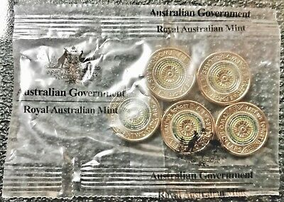5 x 2017 Australian Two Dollar $2 ANZAC Lest We Forget UNC Coins in RAM Bag.