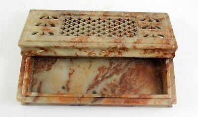 19th Century Chinese SOAPSTONE Cricket Box w/ Lid ~ RETICULATED Cover Design