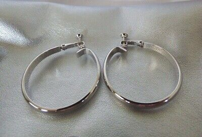 31b8656ff Vintage NAPIER Signed Silver Tone Earrings Screw Back Clip On Classic Hoop