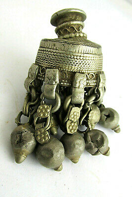 Ancient Viking-Age Medieval  Pagan SILVER nine-BELL AMULET PENDANT