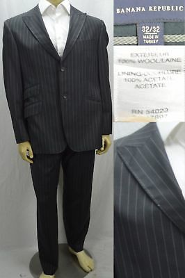 Banana Republic Mens $650 Suit Size 42S Short 100% Wool Charcoal Gray Pinstriped