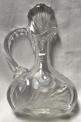 Vintage Cruet Glass Lead Cut Crystal Rose Flower Faceted Stopper
