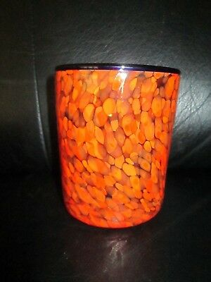 "Unique 4 1/4"" Tall Orange Specks Art Glass Old Fashioned Or Vase Hand Blown Cup"
