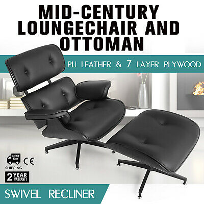 Cool Modern Mid Century Eames Lounge Chair Ottoman Pu Leather Beatyapartments Chair Design Images Beatyapartmentscom