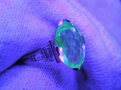 Rare Lovely Antique 14K White Gold Vaseline Uranium Glass W Accents Ring!