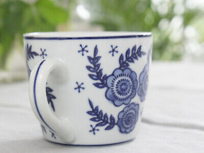 Shabby Vintage Floral Daisy Chic Blue White Mug Cup Tea Coffee Porcelian French