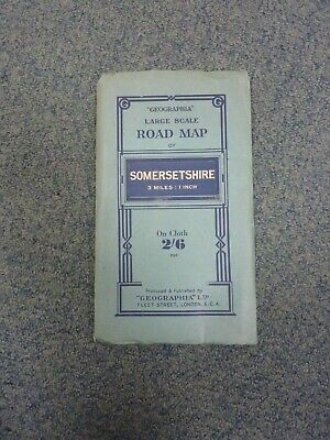 """""""Geographia"""" large Scale Road Map of Somersetshire. On Cloth"""