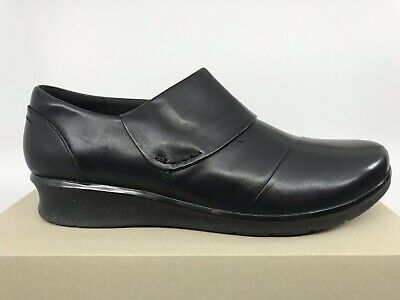 9b9ad5faaf7c Clarks Hope Race Black Leather Slip On Loafer Womens Size 10M NEW