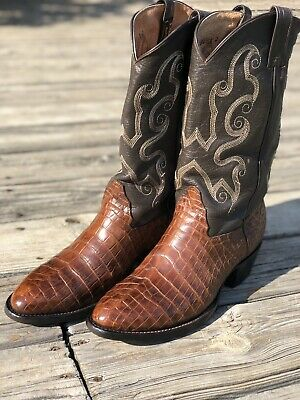 b644070562a LUCCHESE BROWN CROCODILE Caiman Belly Western Boots 9D - $359.00 ...