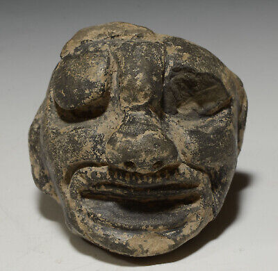 Pre Columbian Maya Pottery God Face Head Shape Poison Pot ca. 300-500 AD
