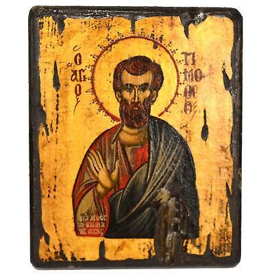 Orthodox Icon Handpainted Icon Old Wood Antique Style Saint Timothy Timofey