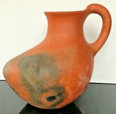 Antique Round Bottom Red Clay Large Large Handled Pot
