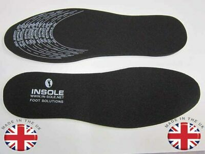 Shoe Insoles 4mm Extra Thick Ladies Mens Foam Rubber Memory Black