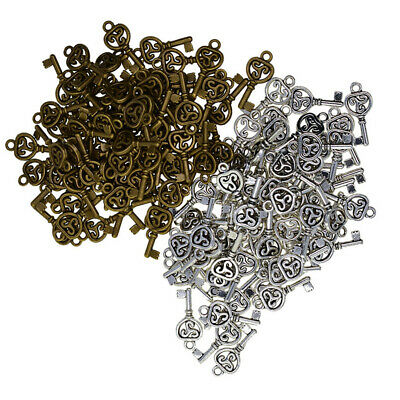 100x Small Antique Silver&Bronze Skeleton Key Charms Pendant Vintage Jewelry