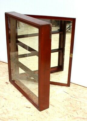 Vintage Mirror Back Mahogany Display Wall Cabinet - FREE Shipping [PL5069]