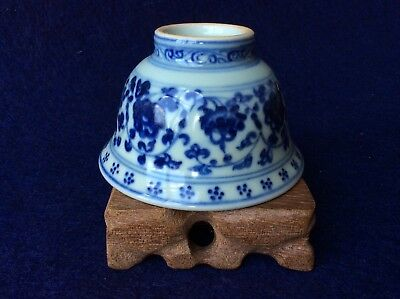 Chinese Antique YongLe Ming Dynasty Porcelain Blue White Qinghua Flower Cup