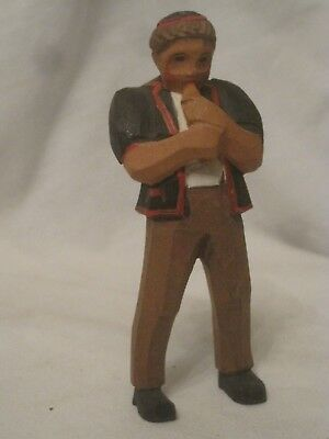 """wood carving figure wooden carved statue boy young man playing flute ? 4.25"""""""