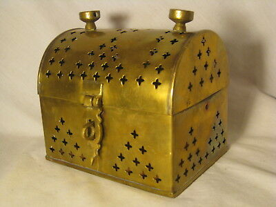 "vintage brass treasure chest hinged container lock box Pakistan 5"" x 4 x 3"