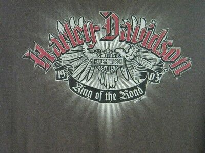 0d9a89de Harley Davidson King Of The Road 100 Years 2003 Brown Long Sleeve T-Shirt XL