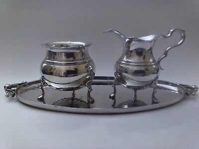 Shirley Pewter Willamsburg VA Footed Sugar & Creamer W/ Hammered Tray Hand Made