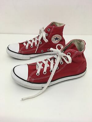 Boys Childs Converse All Star Red Canvas Hi Top Boots Trainers Shoes Uk 2 Eu 34