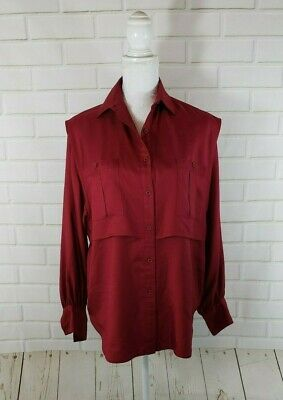 ad7b7f87 Vintage 90s GEOFFREY BEENE BAG Red 100% Silk Blouse Top Sz 6 Large Women's