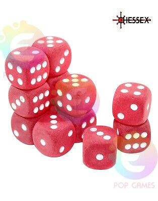 set 12 dadi d6 16mm Frosted Red CHESSEX Signature & KIS Discontinued D&D LE406