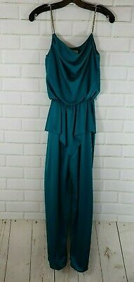 Vintage 1970s 80s Disco Queen Turquoise Jumpsuit Sprouts Brand Sz Small Women's