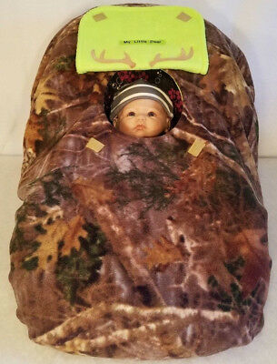 Car Seat Cover Up Camo n Lime Green Fleece Baby Embroidery Cozy Infant Carrier