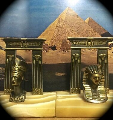 Egyptian Revival 6 Inch Art Deco Brass & Alabaster Bookends ~ Pharaoh & Queen