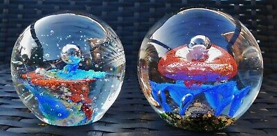Murano Style Pair Of Cosmic Design Paperweight 's X 2