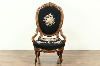 Victorian Antique 1860 Hand Carved Walnut Chair, Needlepoint Upholstery