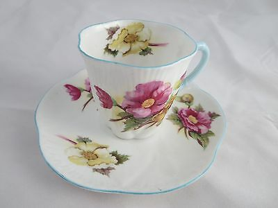 Fine Bone China Shelley Dainty Tea Cup And Saucer Floral Pink / Yellow Rd 272101