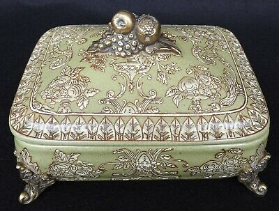 Antique Chinese Hua Rong Tang Zhi Co Crackle Porcelain Trinket Box Brass Footing