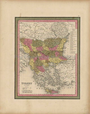 Turkey Europe Balkans Map Antique Mitchell 1847 Authentic Balkan Decor Gift
